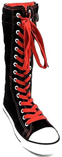 Ragazze Bambini Nuovo Dev-10 Tela Alto Punk Skate Classico Scarpe Da Ballo Avvio Scarpe Da Ginnastica, Prendere In Considerazione 1 Dimensione Fino Nero / Rosso-0943