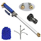 bopopo Jet High Pressure Power Washer Wand 18Inch + 9Inch Long Extendable Sprayer,Flexible Hose Nozzle for Car Washer, Window Water Cleaner, Glass Cleaning Tool, 2 Tips
