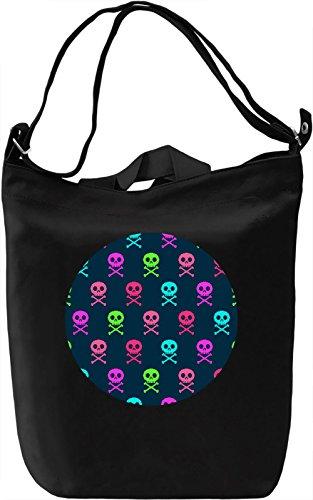 8bt Skulls Borsa Giornaliera Canvas Canvas Day Bag| 100% Premium Cotton Canvas| DTG Printing|