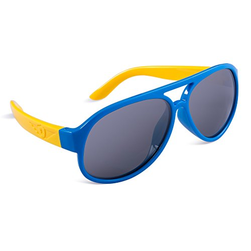 SEEKWAY Kid's Polarized Silicon Rubber Sunglasses For Toddlers Children Age 3-10 SRK806(Blue,Black Polarized Lens)