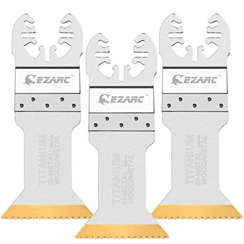 - EZARC Titanium Oscillating Multitool Blades Power Cut Saw Blades for Wood, Metal and Hard Material, 3-Pack