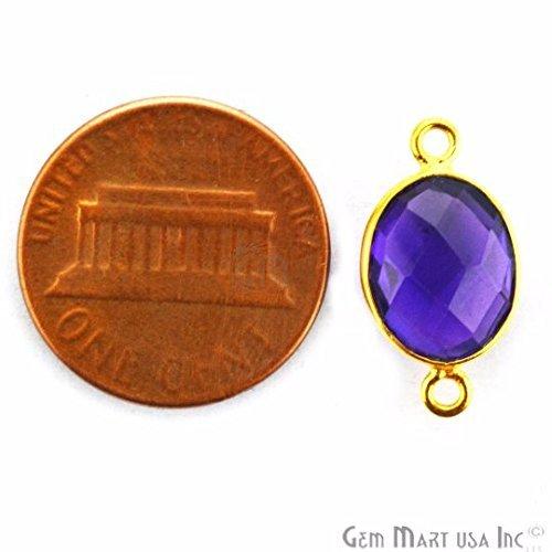 Amethyst, Bezel Connector Oval Shape,9x11mm 24K Gold Plated Gemstone Connector/Pendant (Amethyst Oval Shape)