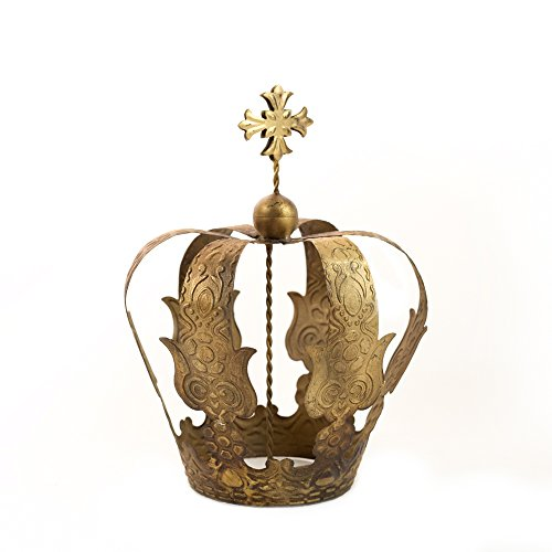 Gold Cake Topper, Cross Crown, Antique Gold Crown, Religious Decor, Mia