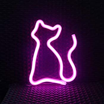 "12/""x8/""Cat Neon Sign Light Handmade Real Glass Tube Home Room Wall Poster Decor"