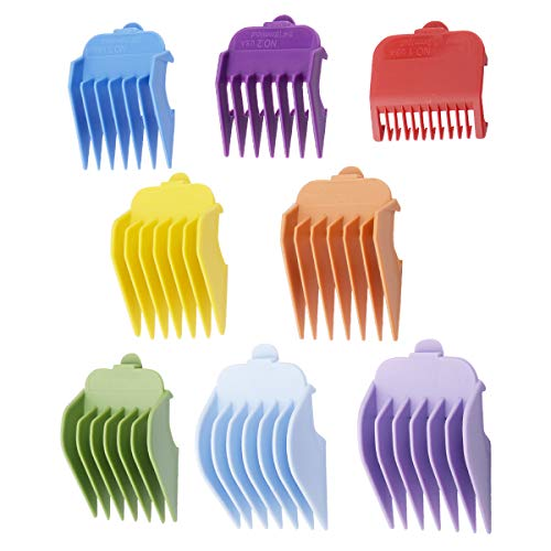 "Professional Hair Clippers Guides Combs 8 pack - 1/8"" to 1 for Full Size Standard Adjustable Blade -Compatible with Wahl Clippers/Trimmers #3170-400,Colorful ()"