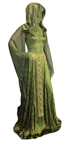 Nanquan Women Hooded Halloween Costume Solid Vintage Dress Green US XS -
