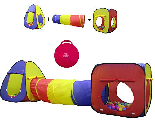 Imaginative Indoor Play Toys (Kiddey 3pc Kids Play Tent Crawl Tunnel and Ball Pit Set – Durable Pop Up Playhouse Tent for Boys, Girls, Babies, Toddlers & Pets – for Indoor & Outdoor Use, with Carrying Case, -Great)