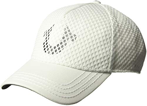 True Religion Men's MESH Overlay Baseball Cap, White, OSFA