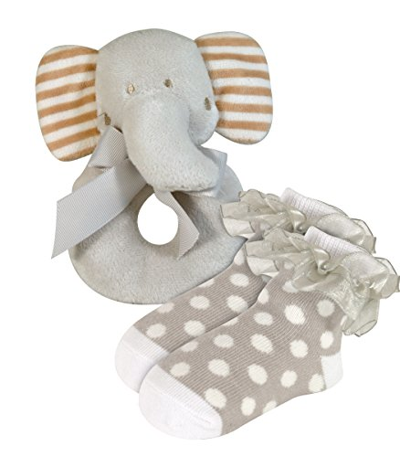 Stephan Baby Plush Ring Rattle and Lace-Trimmed Polka Dot Socks Gift Set, Elephant, 6-12 Months