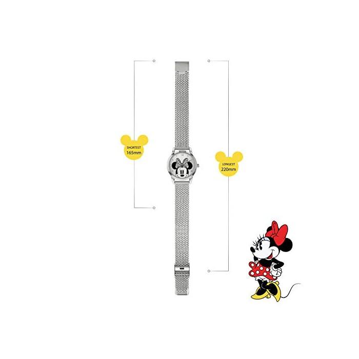 41XCQmamdyL Reloj de Minnie Mouse para adultos Esfera de 30 mm Correa de malla de metal plateado