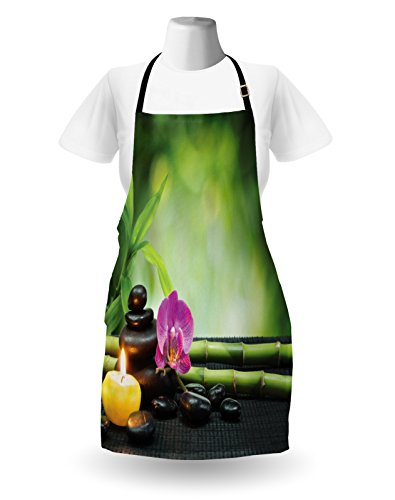 Ambesonne Spa Apron, Orchid Bamboo Stems Chakra Stones Japanese Alternative with Feng Shui Elements, Unisex Kitchen Bib Apron with Adjustable Neck for Cooking Baking Gardening, Apple Green Fuchsia by Ambesonne (Image #1)