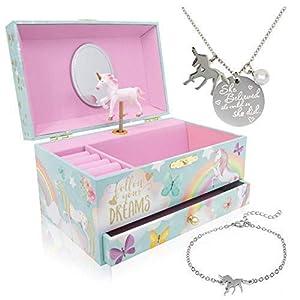 The Memory Building Company Unicorn Music Box & Little Girls Jewelry Set - 3 Unicorn Gifts for Girls