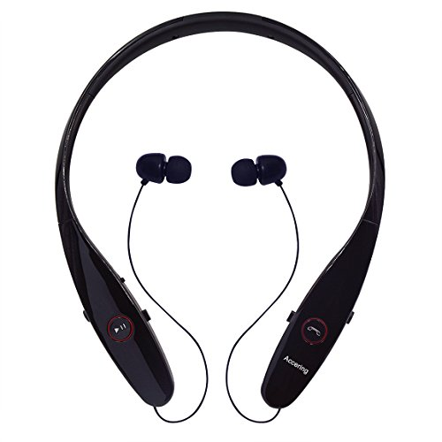 Wireless Bluetooth Headphones, Accering Sports Bluetooth 4.1 Stereo Headset Running Neckband with Retractable for iPhone/Mac and Android Cell Phones - Black