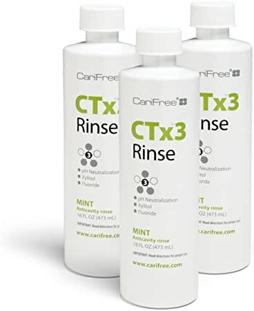 CariFree CTx3 Rinse (Mint): Fluoride Mouthwash | Dentist Recommended Anti-Cavity Rinse | Neutralizes Oral pH | Freshen Breath | Cavity Repair (3-Pack)