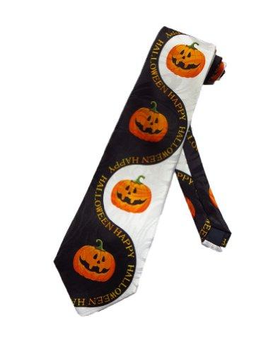 Steven Harris Mens Happy Halloween Pumpkins Necktie - Black - One Size Neck Tie ()