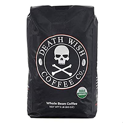 Death Wish Whole Bean Coffee, The World's Strongest Coffee, Fair Trade and USDA Certified Organic by Death Wish Coffee Co.