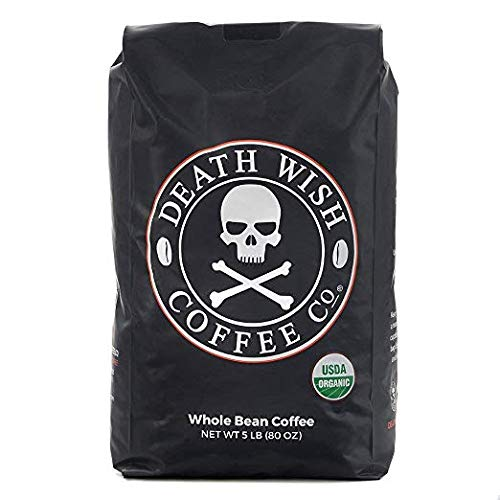 Death Wish Whole Bean Coffee, The World's Strongest Coffee, Fair Trade and USDA Certified Organic – 5 Pound Bulk Value-Bag