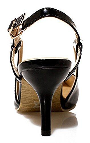 Easemax Womens Eleganti Tacchi Gattino Slip-on Fibbia In Metallo Stiletto Chiuso A Punta Pompe Nere
