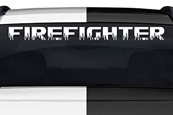 Amazoncom Sticky Creations Firefighter Flame Font Flaming Fire - Car windshield decals customcustom window decals