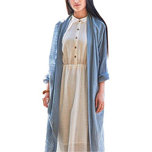 Yangelo カーディガン ロング レディース 綿麻 薄手 長袖 羽織り 森ガール シンブル 日焼け 冷房 対策 カジュアル 大きいサイズ