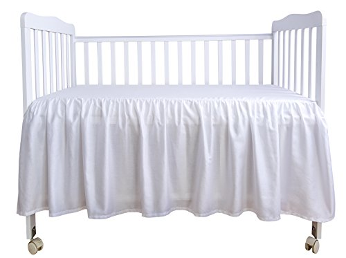 Crib Dust Ruffle - PHF Crib Bed Skirt Dust Ruffle 100% Cotton Nursery Crib Bedding for Baby 17