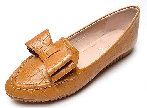 Aisun Women's Cute Bowknot Round Toe Slip On Flats Shoes Yellow rlY8ZQmE