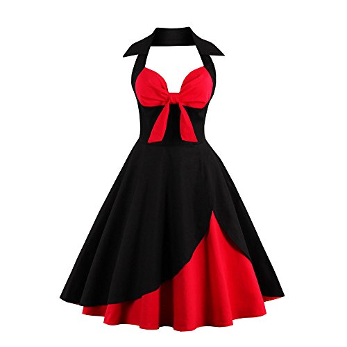 Women Retro Dress Rockabilly Halter Bowknot Sleeveless Hepburn Pleated Floral Swing Cocktail Vintage Dresses Chaofanjiancai Black