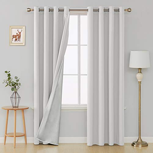 Deconovo Thermal Insulated Blackout Curtains Grommet Top Energy Saving Kitchen Drapes with Silver Coating for Bedroom 52W x 84L Inch Greyish White 2 Panels