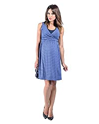 The Essential One Women's Sleeveless Print Nursing Dress Large (12-14) Blue