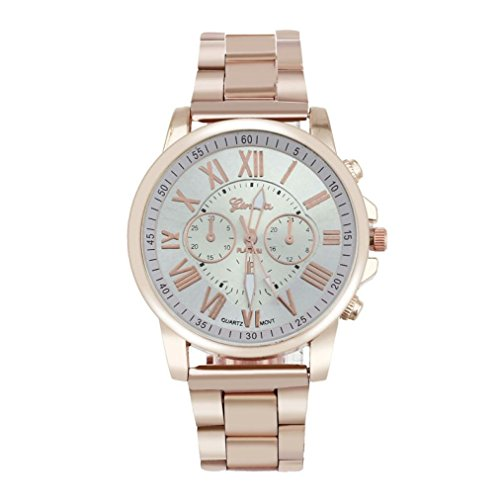 Hot Sale ! ღ Ninasill ღ Roman Number Geneva Stainless Steel Quartz Sports Dial Wrist (Geneve Movement)