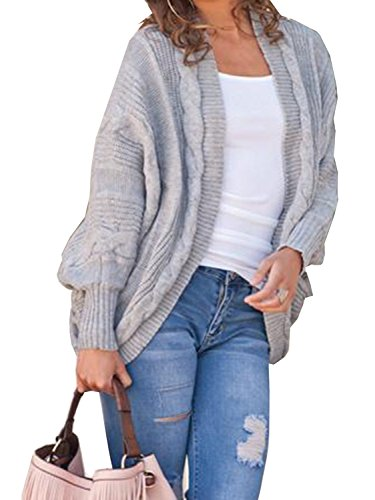 (Women's Cable Knitted Cardigan Open Front Dolman Batwing Sleeve Winter Cardigan Coat Gray)