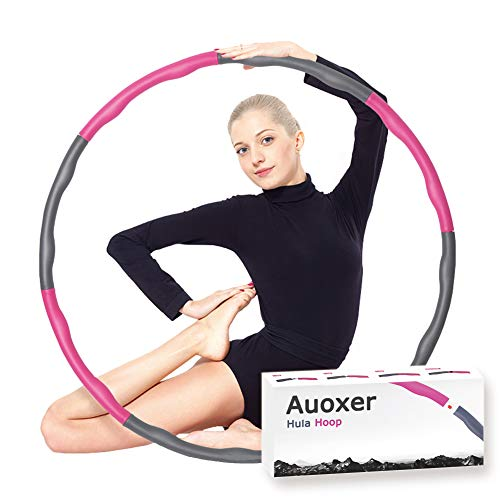 Auoxer Fitness Exercise Weighted Hula Hoop, Lose Weight Fast by Fun Way to Workout, Fat Burning Healthy Model Sports Life, Detachable and Size Adjustable Design -