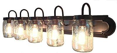 LAMP Goods Mason JAR Bathroom Vanity 5-Light Wide Mouth Jars