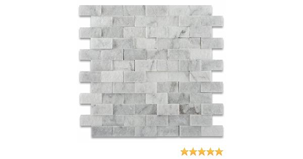 1 X 2 Carrara White Marble Split Faced Brick Mosaic Tile Box Of 5 Sq Ft