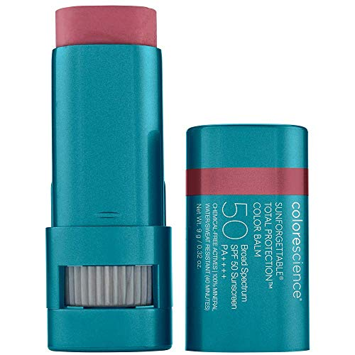 Colorescience Sunforgettable Total Protection Color Balm SPF 50, Mineral, Broad Spectrum, Buildable Lip & Cheek Color, Berry, 1