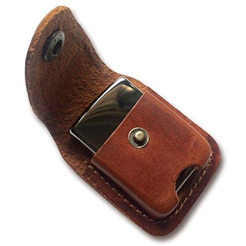 Handmade Fliptop Leather Lighter Pouch Holder Case with Pocket Belt Loop (Brown)
