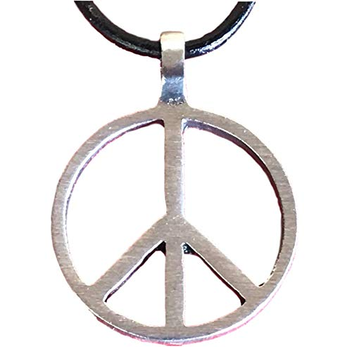Trilogy Jewelry Pewter Classic Peace Sign Love Hippie Pendant on Leather Necklace - Peace Sign Symbol Pendant