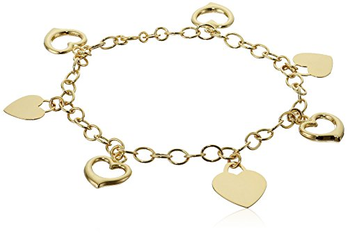 14k Yellow Gold Open Heart Charm Bracelet, 7.5