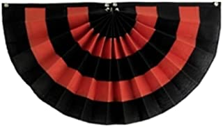 "product image for Independence Bunting Halloween Flag Bunting 36"" x 72"" Fully Sewn Black & Orange Nylon Banner Flag. Pleated Fans Made in The USA!"
