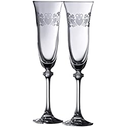 Galway Crystal Claddagh Ring Shamrock Liberty Flutes (1 Pair), Clear