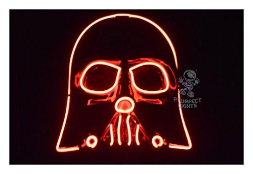 Trippy Lights Darth Vader Star Wars The Last Jedi Light Up EL Wire Cosplay Festival Rave Halloween Mask (Red)