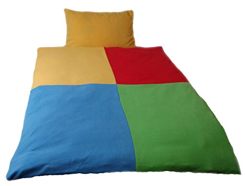 Kinderbettwäsche Patchwork 3tlg. ca. 100x135 cm + ca. 40x60 cm + Spanntuch Mikrofaser-Fleece Wendebettwäsche Farbe (bunt)
