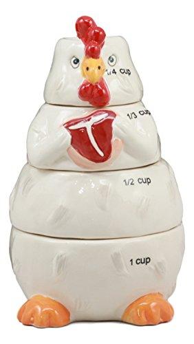 Ebros Ceramic Farm Hen Chicken Serving Beef Steak Measuring Cups Set of 4 Baking & Cooking Kitchen Essentials Figurines