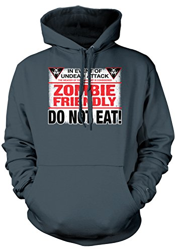 Amdesco Men's Zombie Friendly, DO NOT EAT! Hooded Sweatshirt, Charcoal Gray (Halloween Sayings About Food)