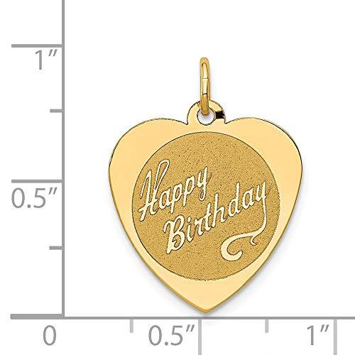 Pendant Disc Birthday Happy - 14k Yellow Gold Engravable Happy Birthday Heart Disc Pendant