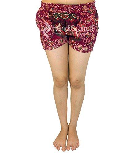 Con A Fatte Stampati Vita Stampa Mano Mandala Esportazioni Pantaloncini Donna Da Alta Estivi 86qB5x