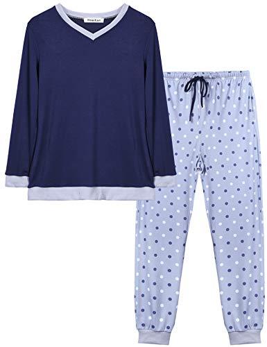 blu Set Cotone Navy Da Pezzi Donna Invernale Abollria Con Pigiama In B V Lungo Due Scollo Maniche Lunghe A T1H7wqd