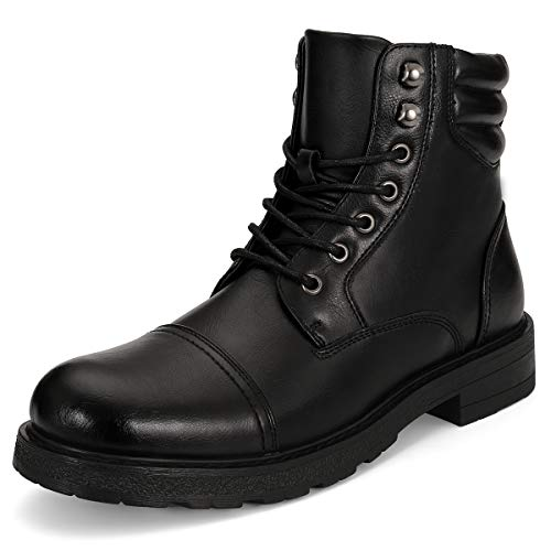 - GM KENNARD Mens Combat Boots-Cap Toe Lace Up Zipper Boot for Hiking Military Tactical Motorcycle Black 12
