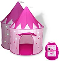 Fox Print Princess Castle Play Tent with Glow in the Dark Stars, conveniently folds in to a Carrying Case