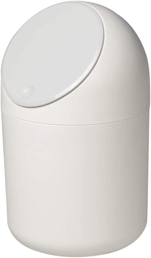 Idomy 0.5 Gallon Tiny Desktop Push-Button Trash Can, Mini Garbage Can